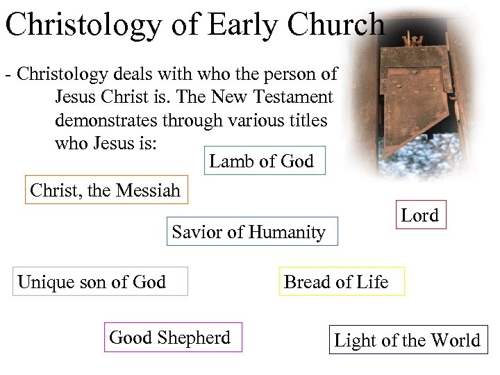Christology of Early Church - Christology deals with who the person of Jesus Christ