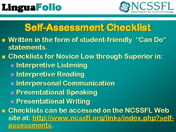 "Self-Assessment Checklist n n n Written in the form of student-friendly ""Can Do"" statements."