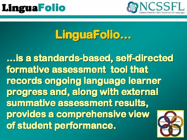 Lingua. Folio… …is a standards-based, self-directed formative assessment tool that records ongoing language learner