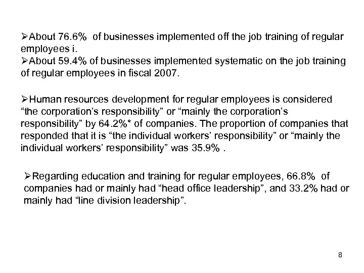 ØAbout 76. 6% of businesses implemented off the job training of regular employees i.