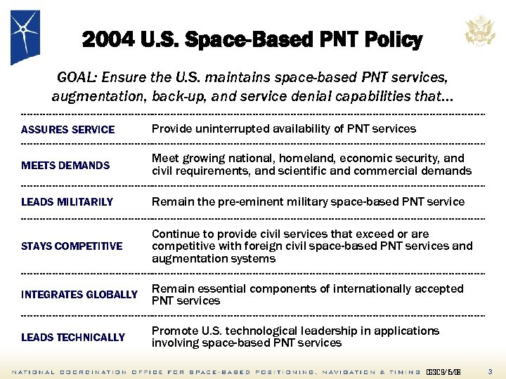 2004 U. S. Space-Based PNT Policy GOAL: Ensure the U. S. maintains space-based PNT