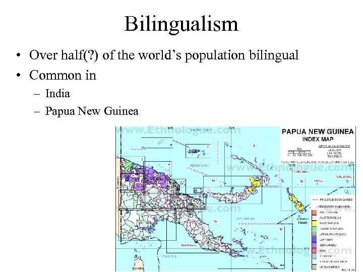 Bilingualism • Over half(? ) of the world's population bilingual • Common in –