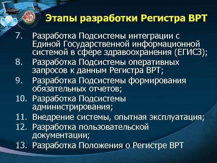 Этапы разработки Регистра ВРТ 7. 8. 9. 10. 11. 12. 13. Разработка Подсистемы интеграции