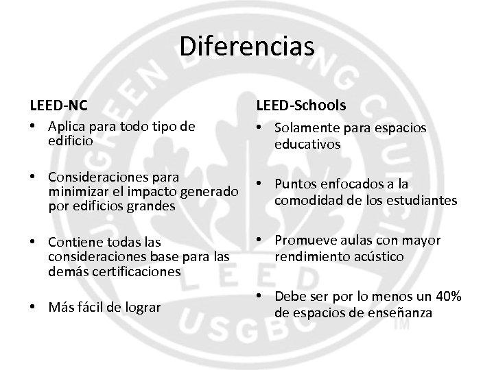 Diferencias LEED-NC LEED-Schools • Aplica para todo tipo de edificio • Solamente para espacios