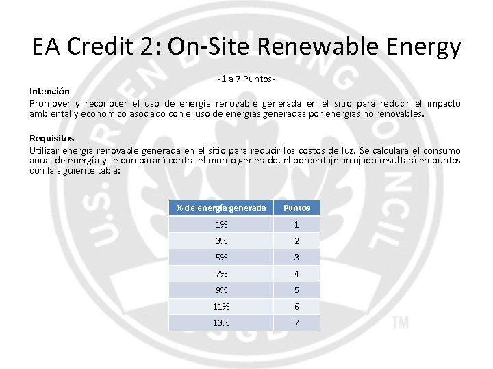 EA Credit 2: On-Site Renewable Energy -1 a 7 Puntos- Intención Promover y reconocer