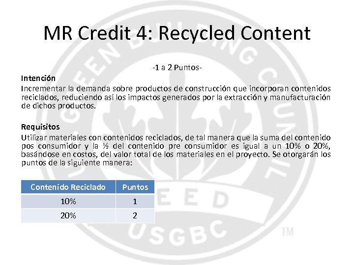 MR Credit 4: Recycled Content -1 a 2 Puntos- Intención Incrementar la demanda sobre