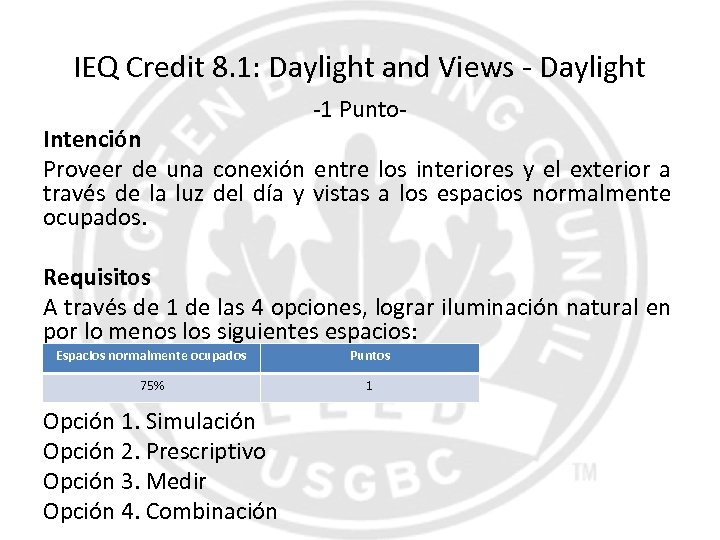 IEQ Credit 8. 1: Daylight and Views - Daylight -1 Punto- Intención Proveer de