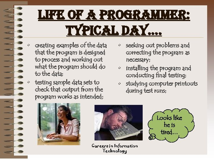 life of a programmer: typical day…. • creating examples of the data that the