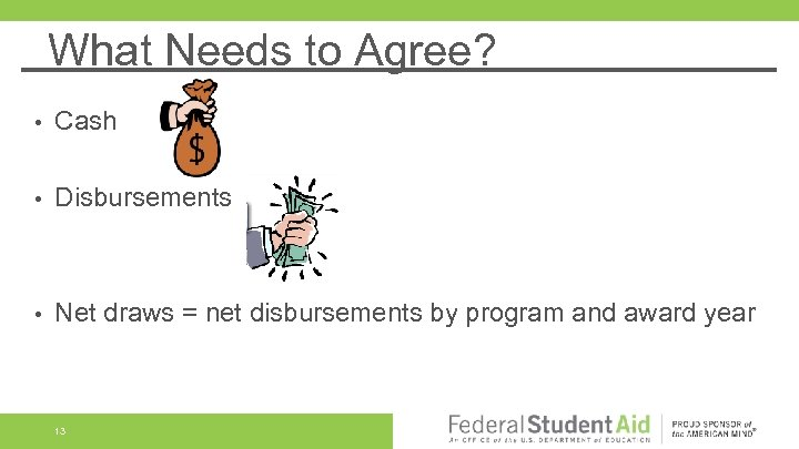 What Needs to Agree? • Cash • Disbursements • Net draws = net disbursements