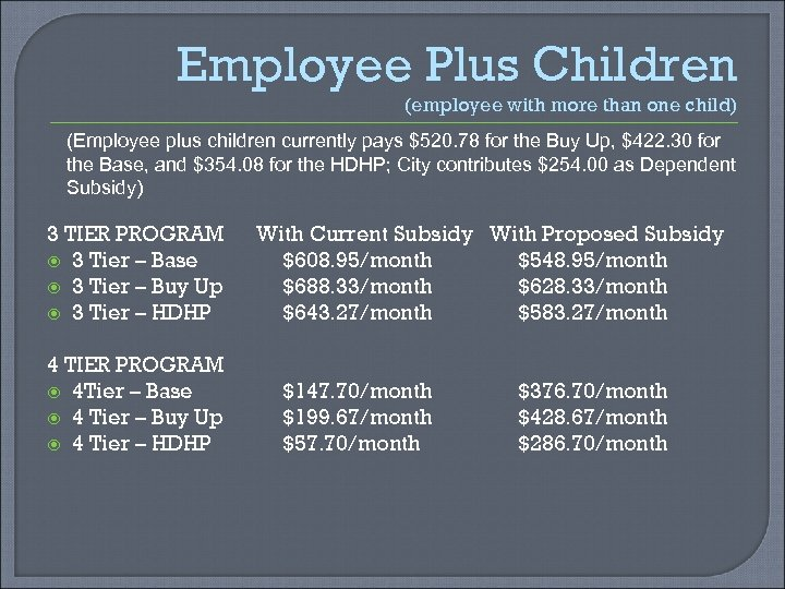 Employee Plus Children (employee with more than one child) (Employee plus children currently pays