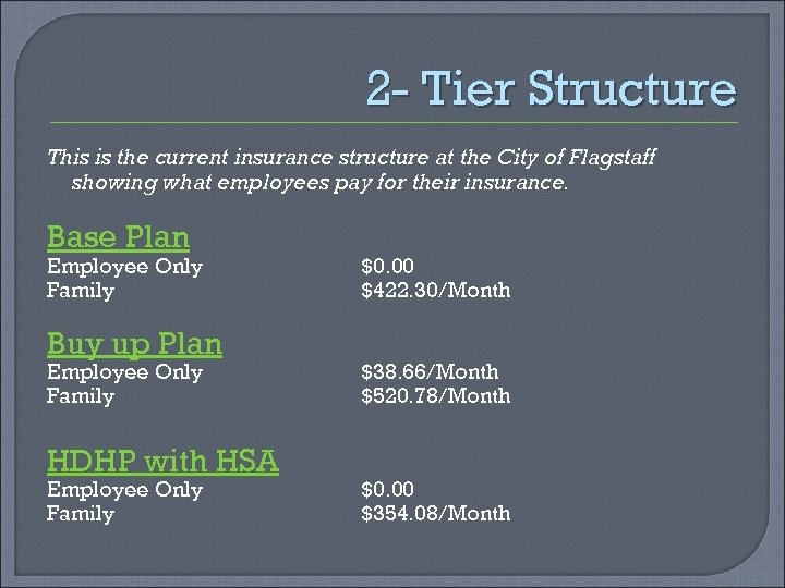 2 - Tier Structure This is the current insurance structure at the City of