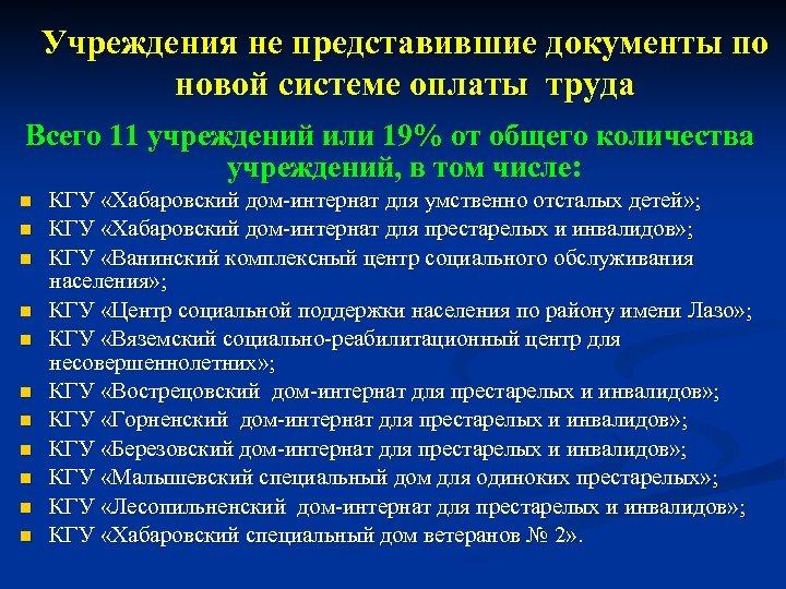 Учреждения не представившие документы по новой системе оплаты труда Всего 11 учреждений или 19%