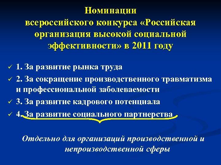 Номинации всероссийского конкурса «Российская организация высокой социальной эффективности» в 2011 году ü ü 1.