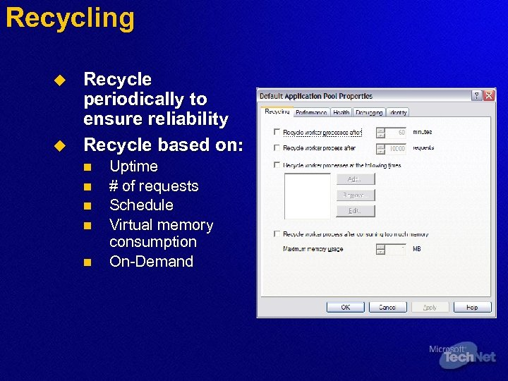 Recycling u u Recycle periodically to ensure reliability Recycle based on: n n n