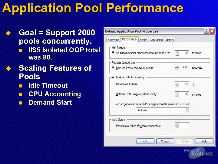 Application Pool Performance u Goal = Support 2000 pools concurrently. n u IIS 5