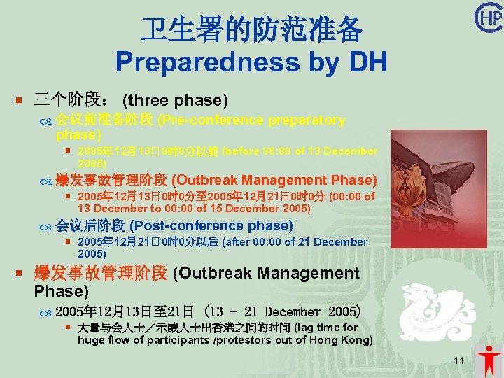 卫生署的防范准备 Preparedness by DH ¡ 三个阶段: (three phase) 会议前准备阶段 (Pre-conference preparatory phase) ¡ 2005年