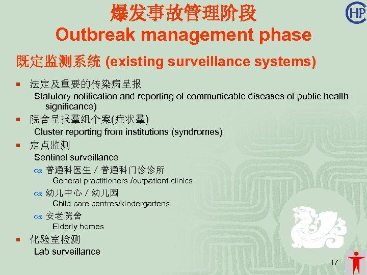 爆发事故管理阶段 Outbreak management phase 既定监测系统 (existing surveillance systems) ¡ 法定及重要的传染病呈报 Statutory notification and reporting