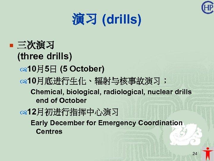 演习 (drills) ¡ 三次演习 (three drills) 10月5日 (5 October) 10月底进行生化、辐射与核事故演习; Chemical, biological, radiological, nuclear