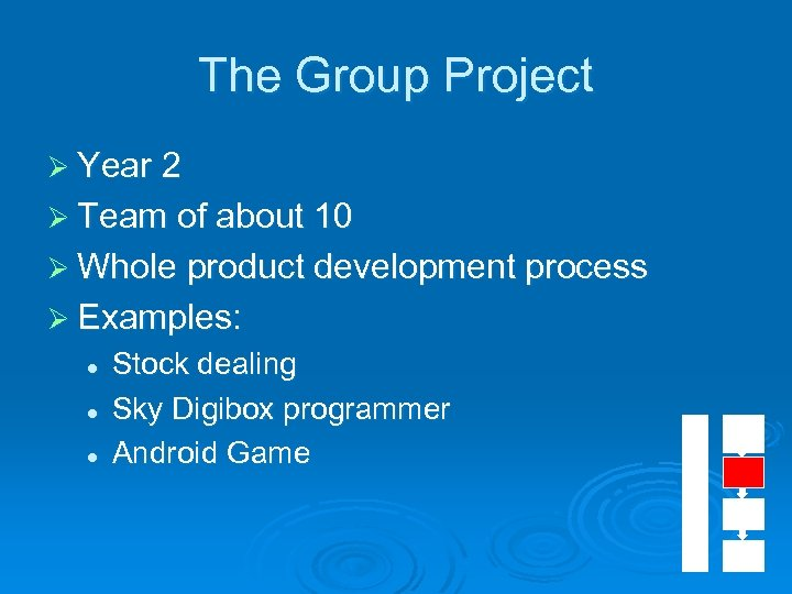 The Group Project Ø Year 2 Ø Team of about 10 Ø Whole product