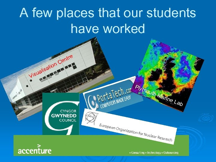 A few places that our students have worked n atio C r ent e