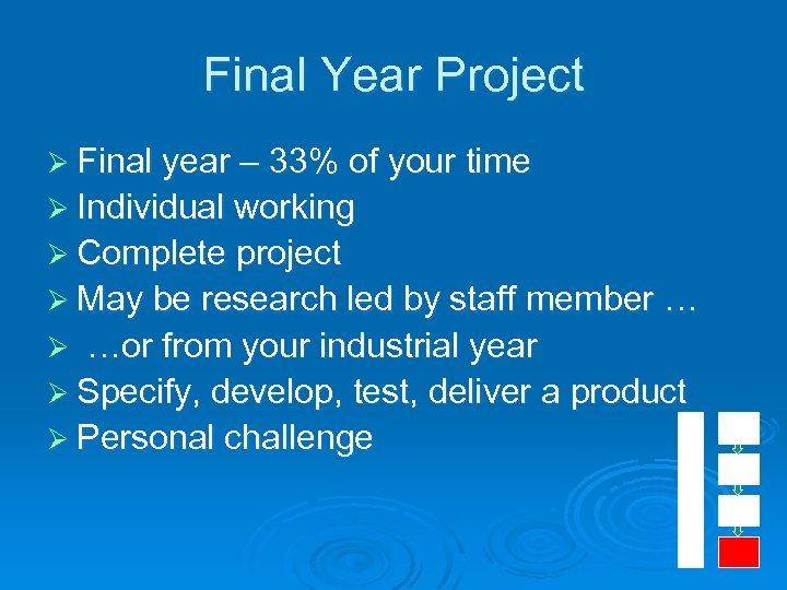 Final Year Project Ø Final year – 33% of your time Ø Individual working