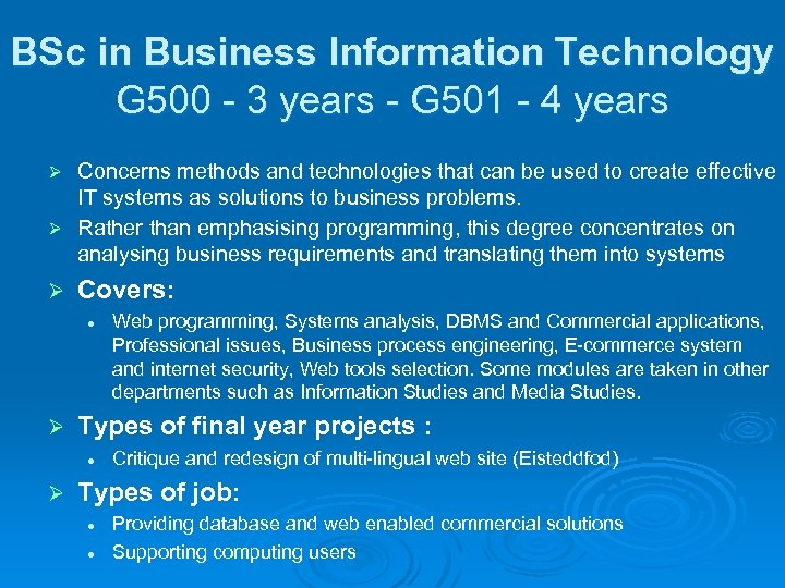 BSc in Business Information Technology G 500 - 3 years - G 501 -
