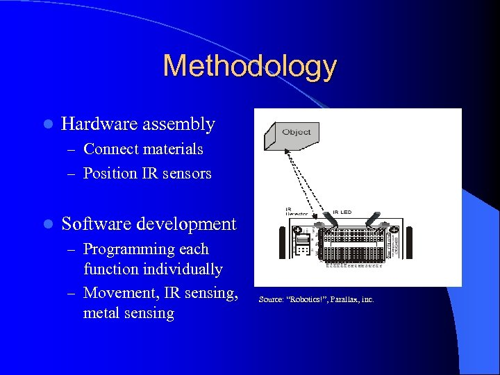 Methodology l Hardware assembly – Connect materials – Position IR sensors l Software development
