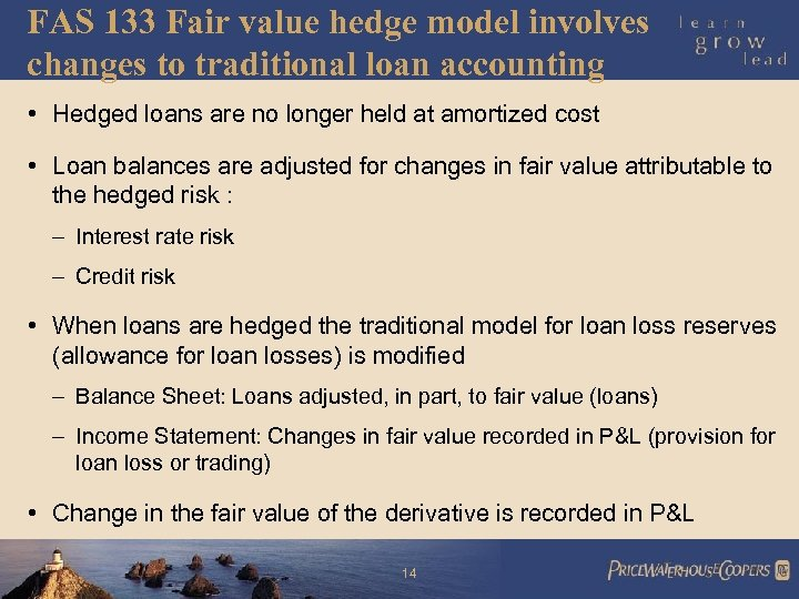 FAS 133 Fair value hedge model involves changes to traditional loan accounting • Hedged