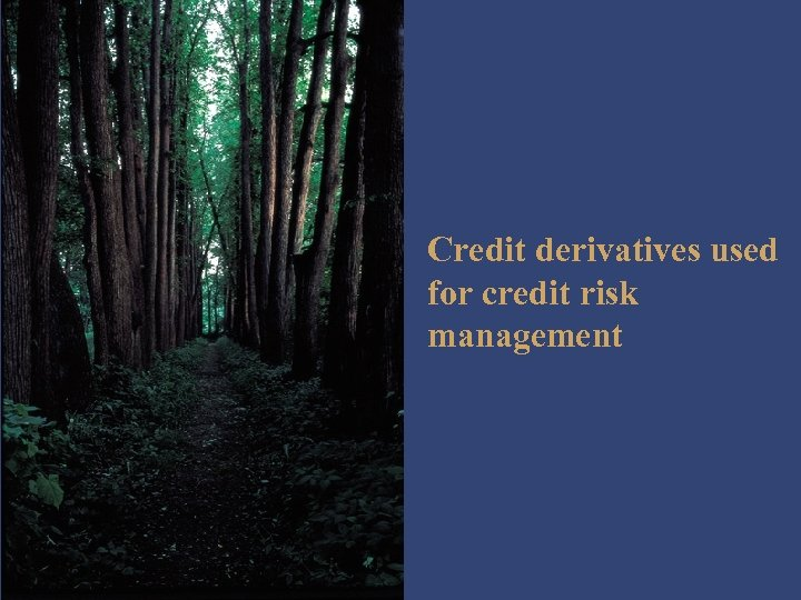 Credit derivatives used for credit risk management