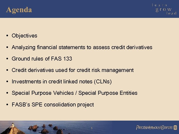 Agenda • Objectives • Analyzing financial statements to assess credit derivatives • Ground rules