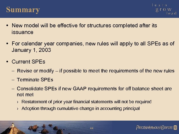 Summary • New model will be effective for structures completed after its issuance •