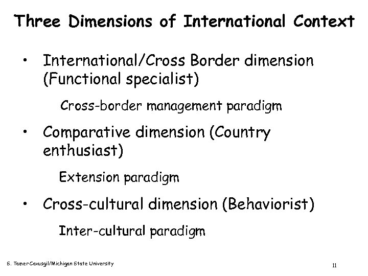 Three Dimensions of International Context • International/Cross Border dimension (Functional specialist) Cross-border management paradigm