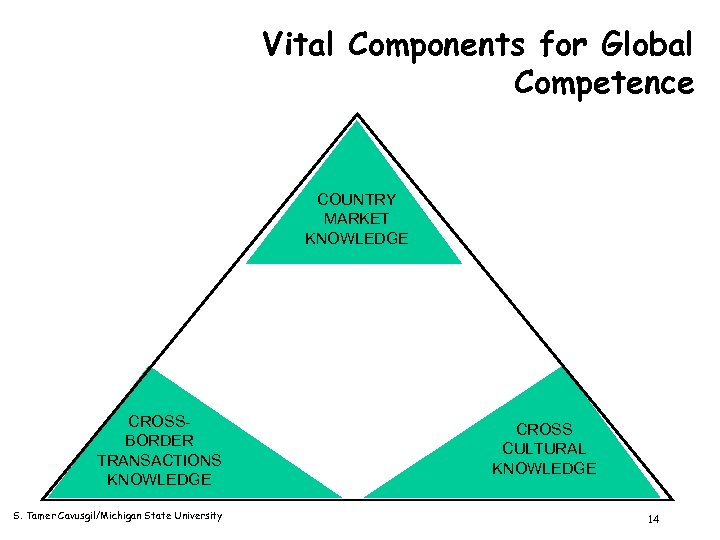 Vital Components for Global Competence COUNTRY MARKET KNOWLEDGE CROSSBORDER TRANSACTIONS KNOWLEDGE S. Tamer Cavusgil/Michigan