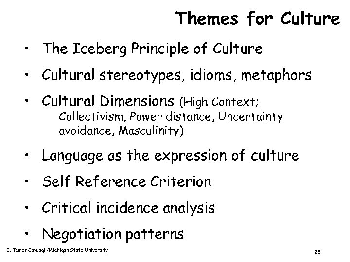 Themes for Culture • The Iceberg Principle of Culture • Cultural stereotypes, idioms, metaphors