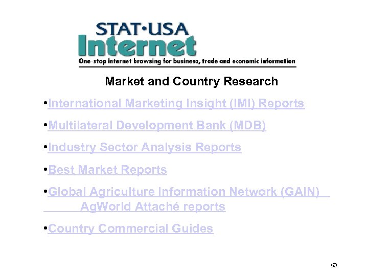 Market and Country Research • International Marketing Insight (IMI) Reports • Multilateral Development Bank