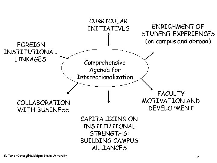 CURRICULAR INITIATIVES FOREIGN INSTITUTIONAL LINKAGES ENRICHMENT OF STUDENT EXPERIENCES (on campus and abroad) Comprehensive