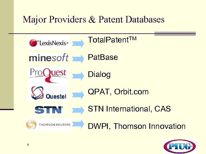 Major Providers & Patent Databases Total. Patent. TM Pat. Base Dialog QPAT, Orbit. com
