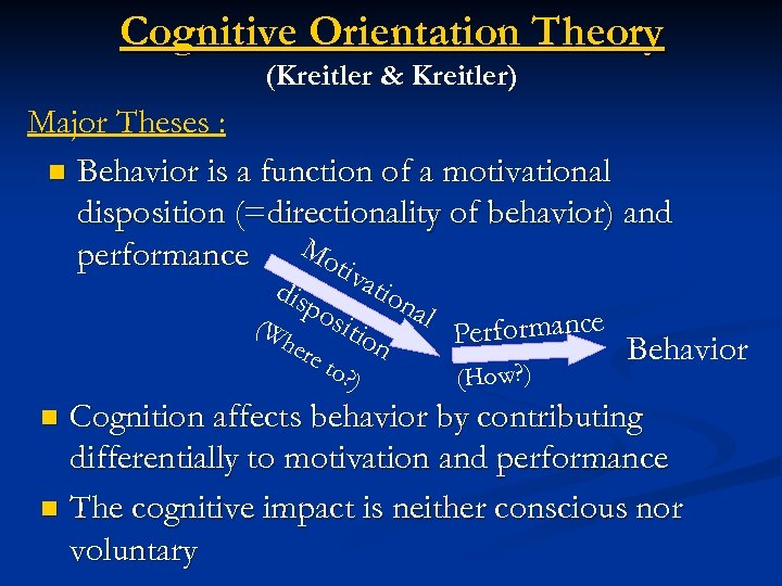 Cognitive Orientation Theory (Kreitler & Kreitler) Major Theses : n Behavior is a function