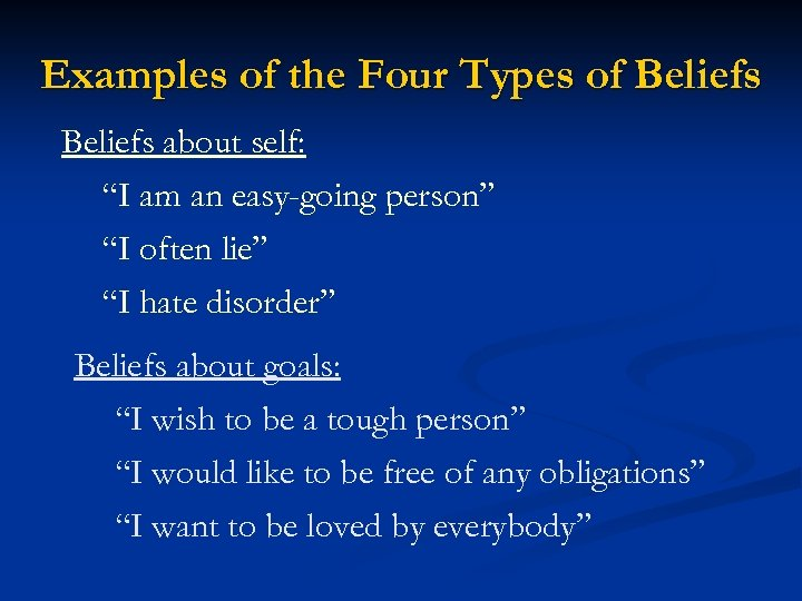 "Examples of the Four Types of Beliefs about self: ""I am an easy-going person"""