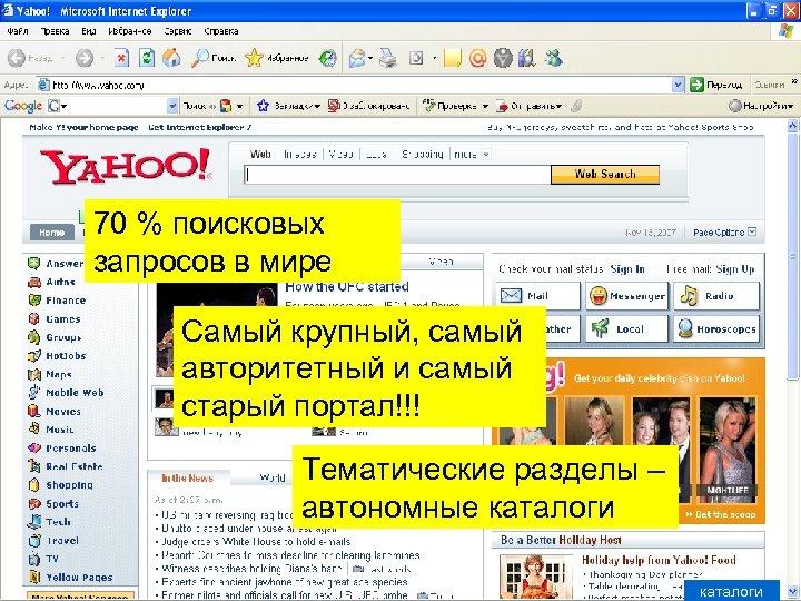 70 % поисковых запросов в мире Самый крупный, самый авторитетный и самый старый портал!!!
