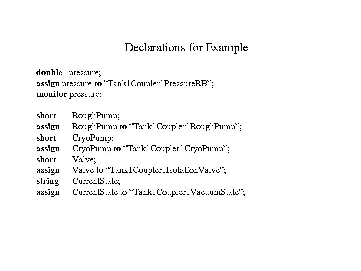 """Declarations for Example double pressure; assign pressure to """"Tank 1 Coupler 1 Pressure. RB"""";"""