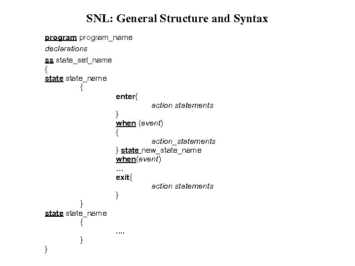 SNL: General Structure and Syntax program_name declarations ss state_set_name { state_name { enter{ action