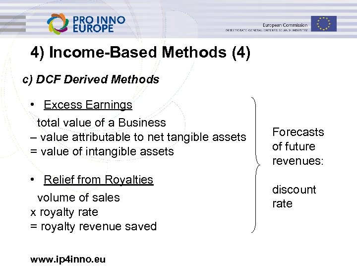 4) Income-Based Methods (4) c) DCF Derived Methods • Excess Earnings total value of