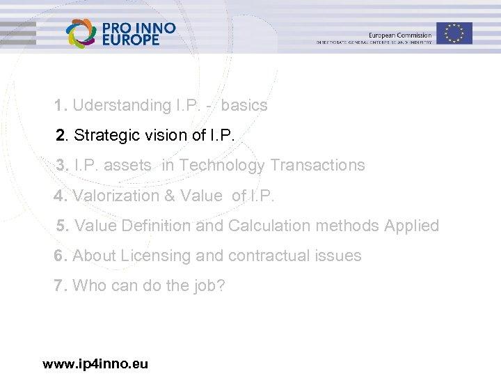 1. Uderstanding I. P. - basics 2. Strategic vision of I. P. 3. I.