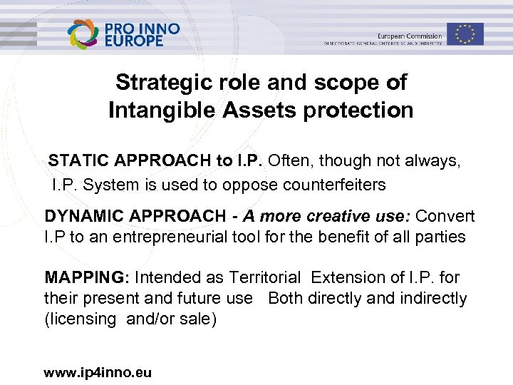 Strategic role and scope of Intangible Assets protection STATIC APPROACH to I. P. Often,