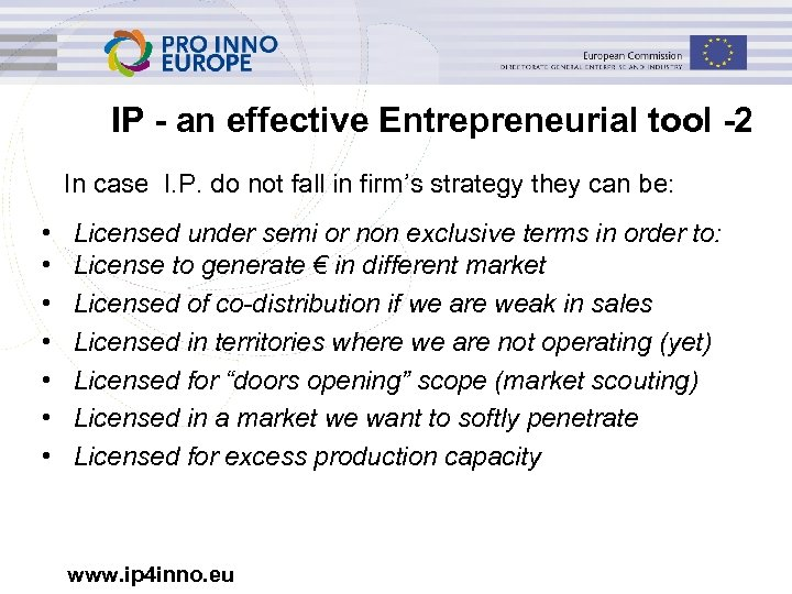 IP - an effective Entrepreneurial tool -2 In case I. P. do not fall