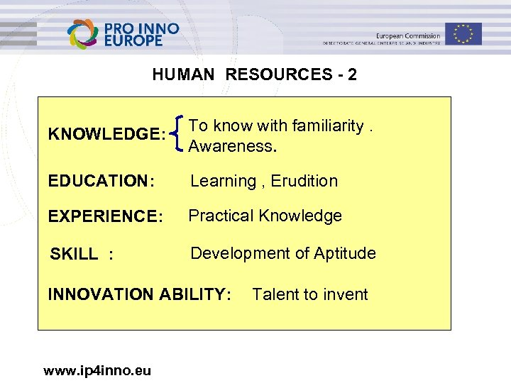HUMAN RESOURCES - 2 KNOWLEDGE: To know with familiarity. Awareness. EDUCATION: Learning , Erudition