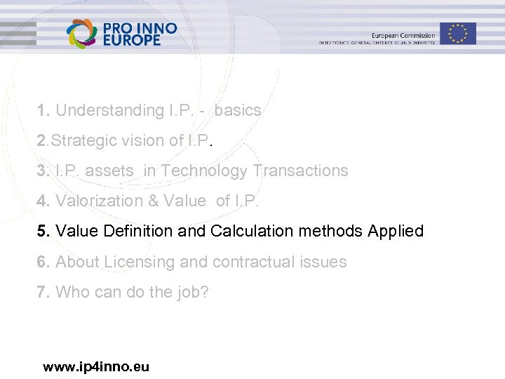1. Understanding I. P. - basics 2. Strategic vision of I. P. 3. I.