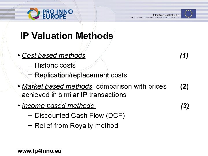IP Valuation Methods • Cost based methods − Historic costs − Replication/replacement costs (1)
