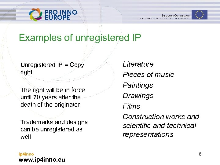 Examples of unregistered IP Unregistered IP = Copy right The right will be in